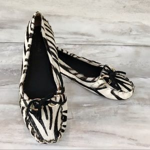 KATE SPADE Zebra Calf Hair Flat Driver Shoes-6.5N